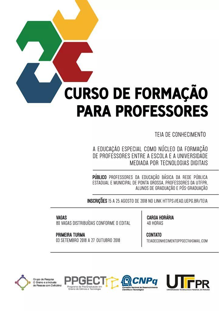 Poster com detalhes sobre o curso de formação para professores